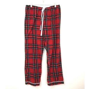 Classic Red Plaid Flannel Pajama Bottoms Tie Front